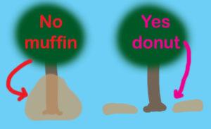 volcano mulch illustration muffin and donut