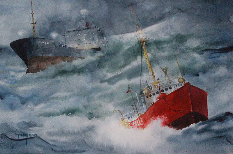 watercolor painting of ships in lake storm