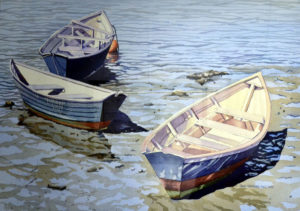 watercolor of boats by Jane Stoddard