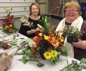making Thanksgiving arrangement at Buffalo Botanical Gardens