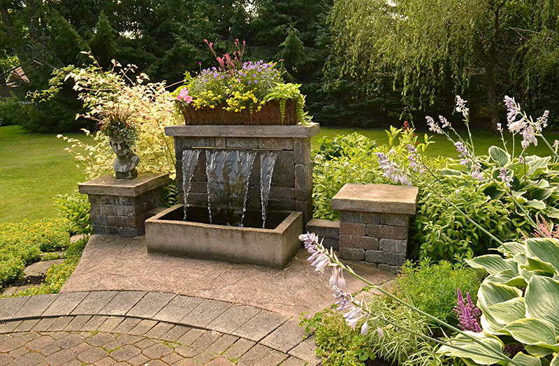 water feature in garden in Hamburg NY