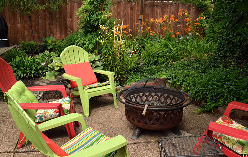 seating and fire pit in South Buffalo