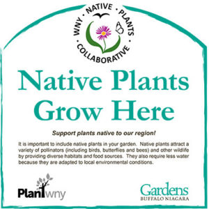 sign for landscapes with native plants on garden walks 2020