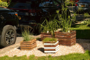 planters at Loomis home on Open Gardens