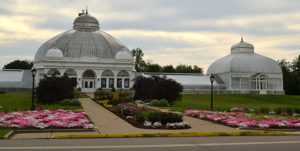Buffalo and Erie County Botanical Gardens entrance with sun and clouds