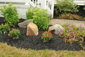 rocks and flowers installed by Busy Beaver Lawn and Garden