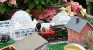 poinsettia and model train at Buffalo Botanical Gardens