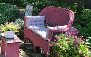 pink wicker seat and table