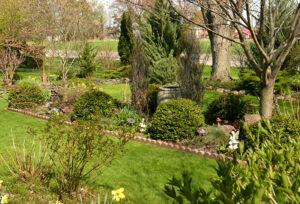 overall view of Pendelton garden in spring