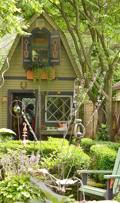 quirky shed in Jim Charlier yard in Buffalo