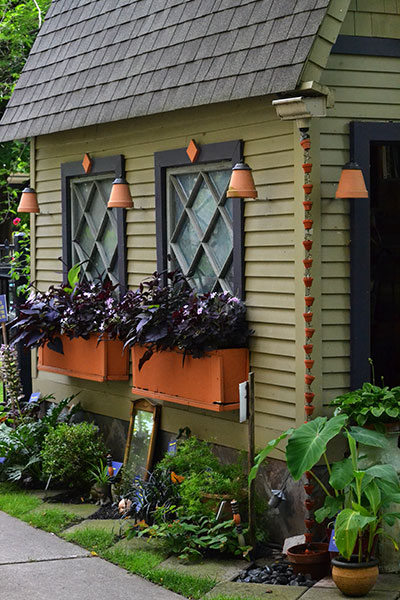 window boxes on shed in Buffalo