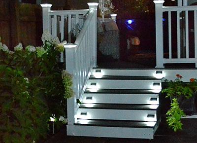lighted steps on City of Tonawanda garden walk