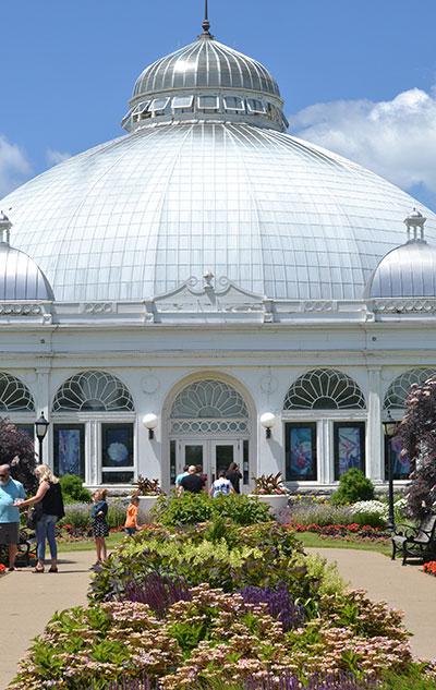 Buffalo and Erie County Botanical Gardens entrance in summer